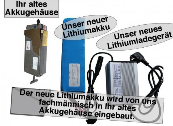 24V / 10AH Giant Lafree Lithiumakku ( LiFe - LiFePo4 ) inkl. Einbau + Ladegerät, Komplettset