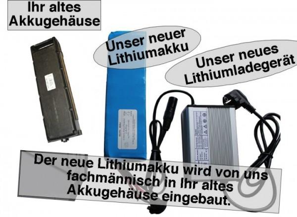 24V / 12AH Sachs Elo Lithiumakku ( LiFe - LiFePo4 ) inkl. Einbau + Ladegerät, Komplettset