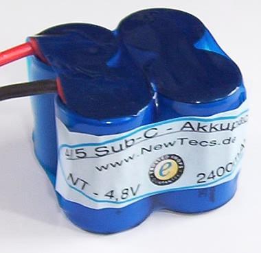 4,8 Volt 4/5 Sub - C 2500mAh Sub-c NiMH Akkupack H2Ole 2n2n