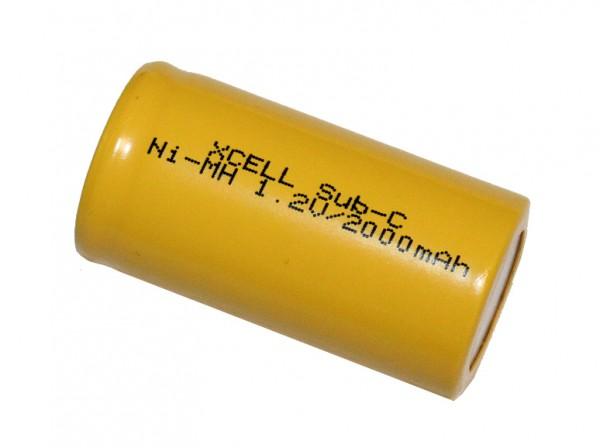2000mAh NiMH Sub C Akku mit Z- Lötfahnen von X-Cell