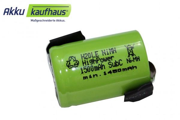 4/5 Sub-C 1500mAh NiMH Einzelzelle 1,2 Volt mit Lötfahnen
