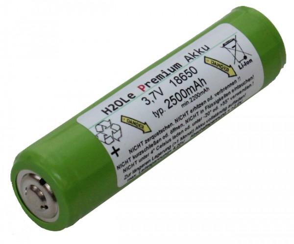 GREEN-Edition 70mm lang 3,7 Volt 2.5Ah LiIon Akku Typ: 18650 mit überstehendem Nippel / PCB-Protecti