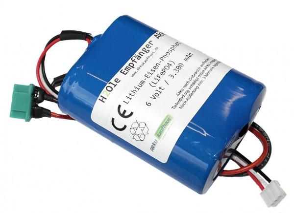 6 Volt (6.6V) LiFePo4 - Empfängerakku MPX / XH Stecker, Kapazität 3300mAh