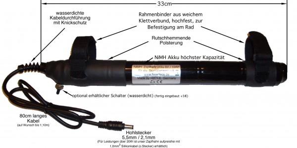 6 Volt Lithium - Zapfhahn Akku (Akkuchemie: LiFePo4 !) 10000mAh P6i H2Ole für 6 Volt Lampen