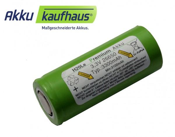 3 Volt (3,3V) 3,3AH 26650 LiFePo4 H2OLE Akku, Durchmesser ähnlich A123 b