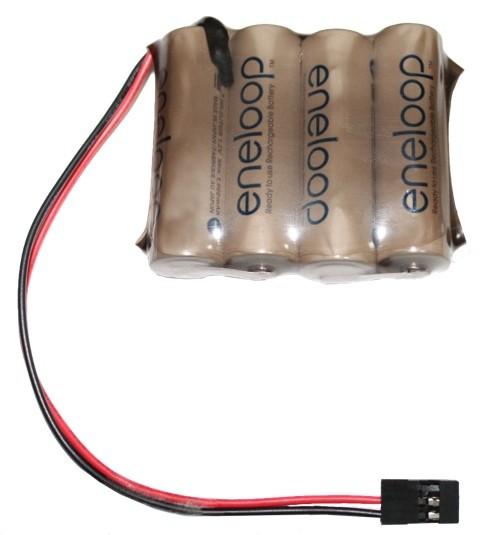 Sanyo Eneloop 4,8V 2000mAh Empfängerakku 4n in Tönfolierung mit Graupner Empfänger Stecker