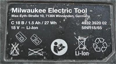 18V Li-Ion ( Lithium ) Akku 1.6AH für Ersatzakku inkl. Einbau ins Milwaukee Gehäuse C 18 B 932 3520
