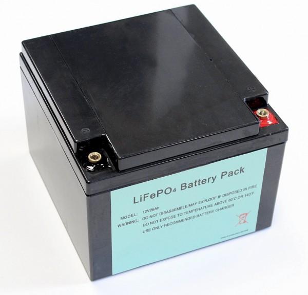 Leichtgewicht dank Lithium 12V / 26AH ( 40AH ) LiFePo4 - Akku inkl. 40A PCM + Ladegerät