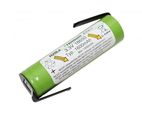 3 (3,3)Volt 1,6AH 18650 LiFePo4 H2OLE Akku mit Anschlußfahnen, Durchmesser ähnlich A123