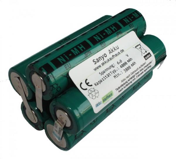 Sanyo Akku für Treble Light MX6 6,0 Volt 4000mAh NiMH im Zylinderformat inkl. 2 Flachschalter