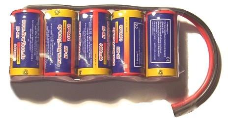 6,0 Volt / 3400mAh SCR NiMH - Akku mit Akkuverbindern verlötet statt geschweißt mit 150mm langem 2,5