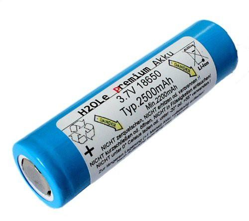 18650 Akku 3,7 Volt / 3,6V 2,5AH Li-Ion LiIon H2Ole ohne Anschlussfahnen