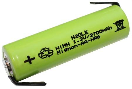 Mignonakku Typ AA 1,2 Volt 2700mAh NiMH Standardlänge mit Lötfahnen HR6 NH15 AM5