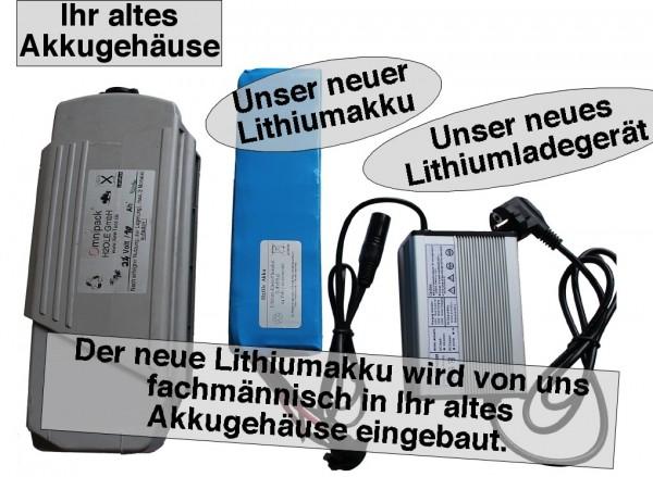 24V (25,9V) / 10AH Yamaha-Kynast Lithiumakku ( LiMn / LiNMC ) inkl. Einbau + Ladegerät, Komplettset