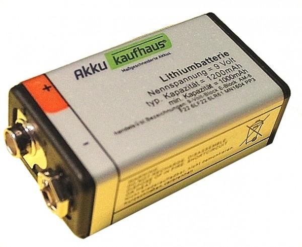9V Blockeinwegatterie 1200mAh Lithium sehr langer Dauerbetrieb