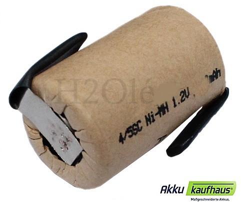 4/5 Sub-C 1500mAh NiMH Einzelzelle 1,2 Volt im Pappmantel mit Lötfahnen
