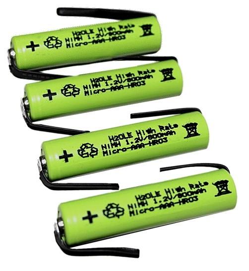 4 Stck. NiMH - Microakkus 800mAh AAA (Typ AAA) mit Anschlußfahnen