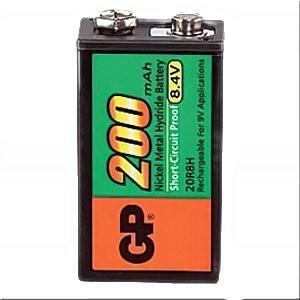 GP 9 Volt NiMH - Block Akku, Nennkapazität 200mAh 8,4V