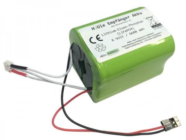 6 Volt (6.6V) LiFePo4 - Empfängerakku ( JR/XH ) mit einer Kapazität ab 6,6Ah