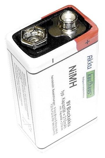 9V Block 310mAh NiMH Blockakku Batterie H2Ole