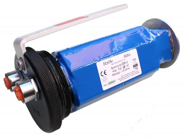12,8 Volt / 12V Li-Ion Akku (LiFePo4) mit einer Kapazität von 10AH für Longlifetauchanwendungen