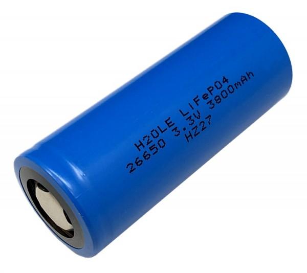 3 Volt (3,3V) 3,8AH 26650 LiFePo4 H2OLE Akku