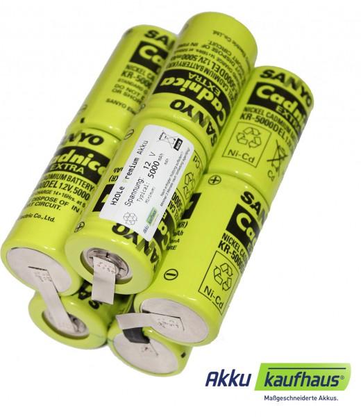 Sanyo Akku für UW- Sachs / NiCd 12V 5000mAh 2i5nz (Mono/Typ-D)