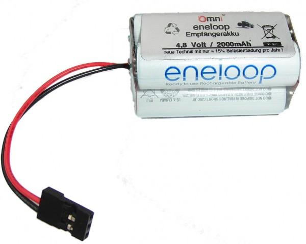 Sanyo Eneloop 4,8V 2000mAh Empfängerakku 2n2p mit Graupner Empfänger Stecker