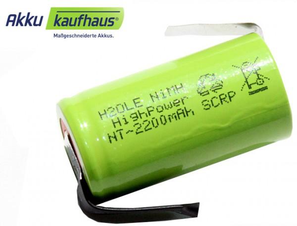 2200mAh NiMH Sub C Akku Sub-C mit Lötfahnen H2Ole Subc