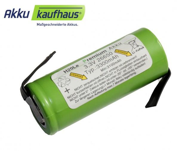 3 Volt (3,3V) 3,3AH 26650 LiFePo4 H2OLE Akku mit Anschlußfahnen, Durchmesser ähnlich A123