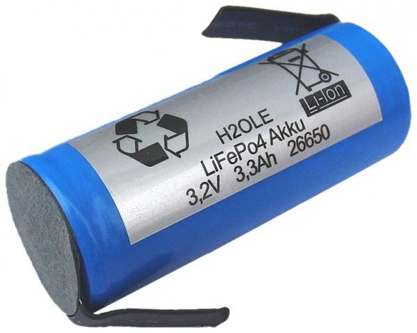 3 Volt (3,3V) 2,3AH 26650XP LiFePo4 Abm wie A123 mit Anschlußfahnen