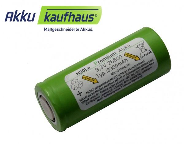 3 Volt (3,3V) 3,3AH 26650 LiFePo4 H2OLE Akku Durchmesser ähnlich A123