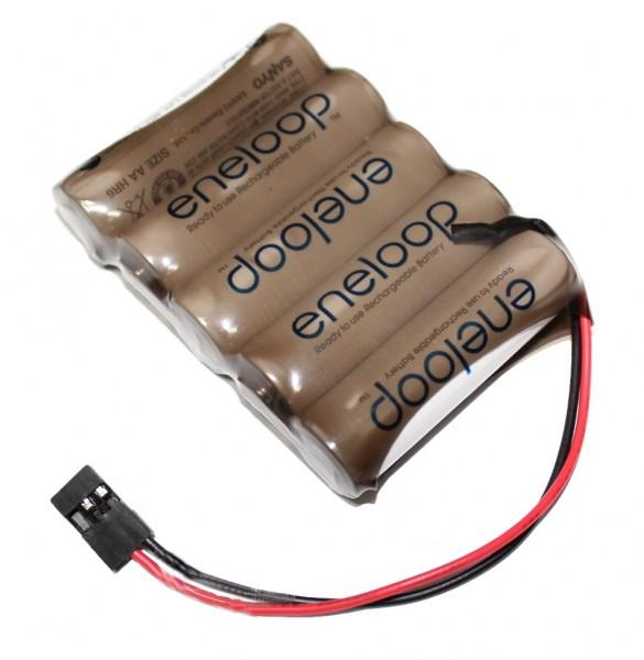 Sanyo Eneloop 6V 2000mAh Empfängerakku 5n in Tönfolierung mit Graupner Empfänger Stecker